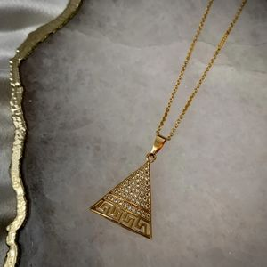Gold Filled Cubic Zirconia Mini Pyramid Necklace